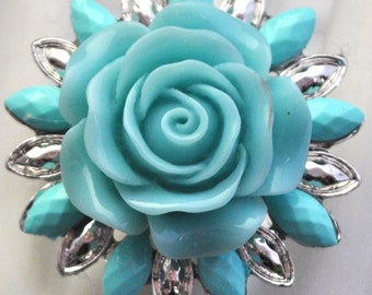 Aqua Floral Ring /Statement Ring/Spring/Summer Jewelry /Mother's Day Gift/Vintage Style/Gift For Her/Under 20 USD/Adjustable