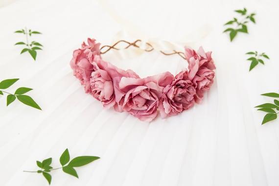 pastel pink rose crown - statement large flower rose crown, santa monica, headpiece, hair accessory, festival crown, romantic, whimsical.