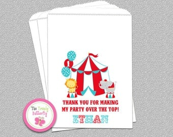 Circus Birthday Party , Candy Bags , Goody Bags , Party Favor Bags