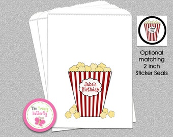 Movie Party Favor Bag , Personalized Popcorn Bag, Candy Bag, Party Favor Bag