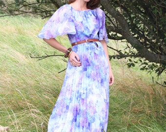 Floral Breeze, Vintage, Floral Print Maxi Dress with Cape Sleeves, from Paris