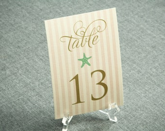Beach Table Numbers, shown in Light Pink, Mint Green and Gold, Starfish and Shell Beach Design