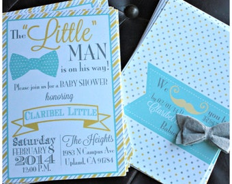 Little Man Baby Shower Invitation (Double Sided Printable)