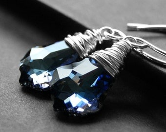 Blue Crystal Earrings, Swarovski Crystal Maliblue Sterling Silver Wire Wrapped Baroque Briolettes, Sterling Silver Earwires