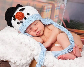 Newborn baby snowman earflap hat