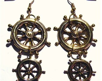 Steampunk Gold Brass Large Wheel Gear Gears Military Navy Earrings Steam Punk Sailor Boat Pilot Captain Pirate