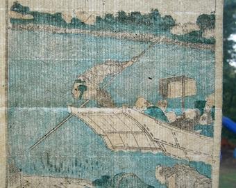 Original Hokusai Japanese Woodblock Print Ukiyo-e Washi Paper Edo Period Printing Block
