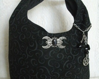 Triple Moon Goddess Purse With Pentacle, wiccan clothing pagan clothing wicca clothing goddess clothing witch witchcraft pentagram handbag