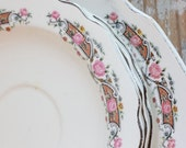 WS George Lido Pattern Antique China Set,  Pink Roses, China Saucer, China Plate, Fancy China, USA, Pink and Black, Tea Party Decor,