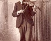 Mustached Man PLAYING STRADIVARIUS VIOLIN Cabinet Card Photo Virginia Minnesota Circa 1890