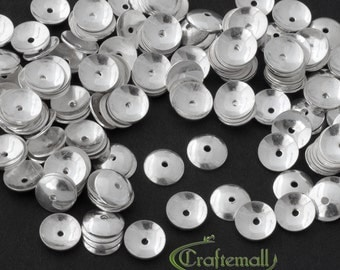 10 Sterling silver bead caps - 6mm smooth rounded bead caps - SS6BC
