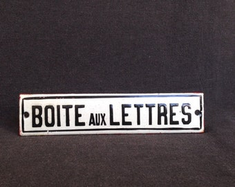 Mailbox vintage French Boite aux lettres rare enamel plate. Black and white industrial decor.
