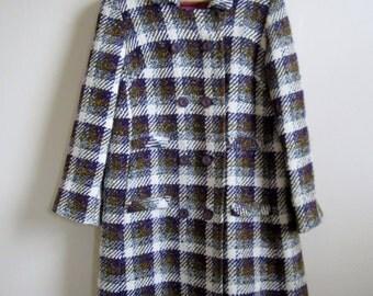 Stunning Vintage 1950s Olive Green and Purple Tweed Coat