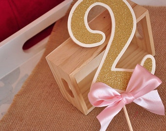 Pink and Gold Birthday Party Decorarations.  Handcrafted in 2-5 Business Days.  Glitter Number Cake Topper.