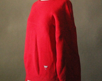 Vintage 80's Red Wool Knit Sweater by Tricot Marine, made in Ireland