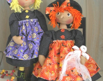 PDF E- Pattern Raggedy Witch Ghost Halloween Cloth Doll Primitive Folk Art Sewing