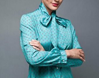 "vintage 70s top blouse ascot green blue satin floral medallion L (42"" bust)"