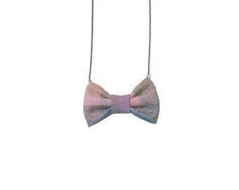 Evening Pastel - Bow Tie Necklace, Pastel Purple Pink Soft Bowtie