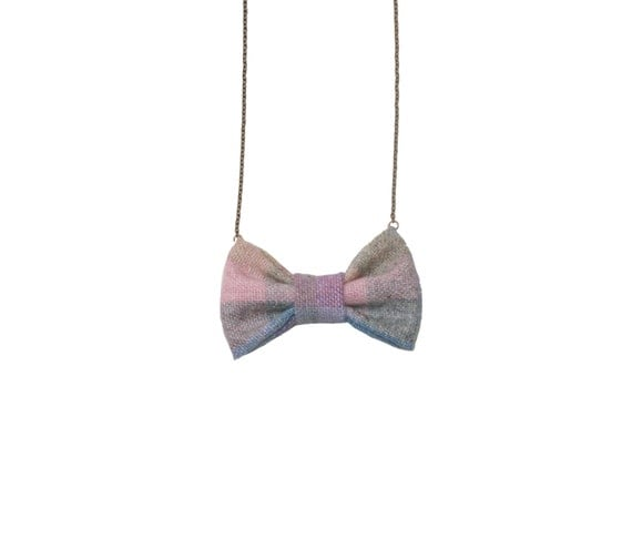 Evening Pastel - Bow Tie Necklace, Pastel Purple Pink Soft Bowtie