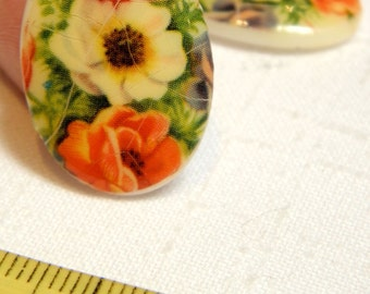 Cabochon - 6 Vintage Glass Poppies Floral Unset Cabochons 18x25 MM Craquelure Antique Look for Jewelry Craft Decor Costume Cottage Chic