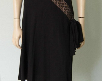 1940s LBD Black Rayon Crepe Dress with Inset Lace Design - Femme Fatale - Small