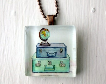 Travelers Wanderlust Necklace, Vintage Suitcases and Globe Art Glass Tile Pendant Necklace, Wearable Watercolor Art