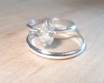 rough diamond ring diamond ring raw diamond ring solitaire diamond ring engagement