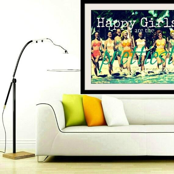 Dorm Decor, Happy Girls are the Prettiest, Dorm Room Art, Dorm Wall Art, Audrey Hepburn Quote Art Dorm Decor Art, Art Gift for Her, Dorm Art