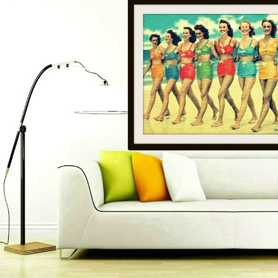 Beach art print, mid century modern art print, Gifts for Her Best Selling Art Vintage Swimsuit Art Coastal Art Beach Decor Best Selling Item