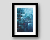 Ice City Archival Giclee Art Print -- Teal Blue Icy Winter Room Decor