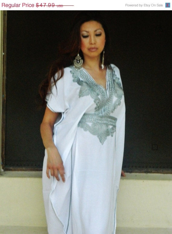 Bridesmaid gift, bridesmaid robe, White Silver Marrakech One Size Resort Kaftan-wholesale, moroccan, beach wedding, bridal shower party