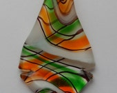 Jewelry Charms and Drops - Pendant, Lampwork Glass, Orange Green White Colors, 59mm, One Piece