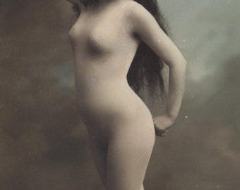 Long Haired French Faux Nude Beauty en Collant, circa 1905 by ELD of Paris