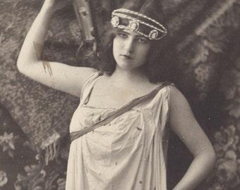 Classical Art Nouveau Maiden Holds Lantern Aloft, by Henri Manuel, circa 1900