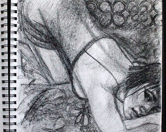 """Lingerie and Fresh Sheets, original drawing in black litho crayon, 11""""x14"""" on 70lbs sketchbook paper by Kenney Mencher"""