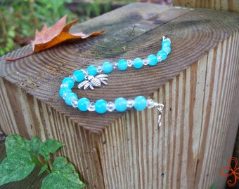 Bee Charm Bracelet (pale blue and clear)