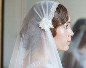 Kate moss veil, Juliet cap veil with blusher, art Deco Veil, cathedral length veil, chapel  veil, waltz length veil, Uk