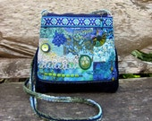 Handmade Quilted Over the Shoulder Purse with Vintage Fabrics, Embroidery, Buttons, Trims, Beading and a Yo Yo, Lined, Blue Colors