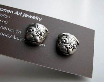 Pug dog earrings white bronze