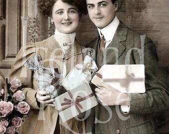 Vintage Postcard-French Couple Delivering Gifts-Digital Download