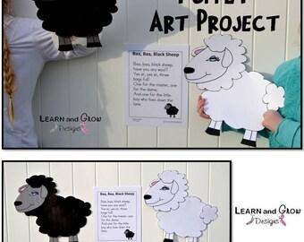 Baa, Baa, Black Sheep Puppet Art Project and Nursery Rhyme Poster