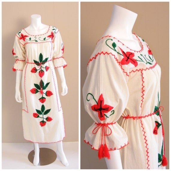 Vintage mexican strawberry embroidered maxi dress s