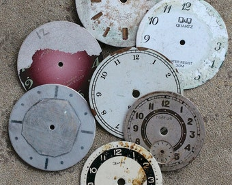 Vintage Soviet Watch Faces from 1980's -- set of 7