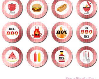 BBQ Party Circles | BBQ Cupcake Toppers | Grill Out Party Circles | Grill Out Stickers | PRINTABLE Cook Out Cupcake Toppers #102