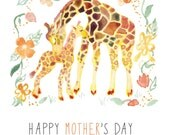 Watercolor Giraffe Mother's Day Card