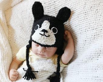 Crochet Little Boston Terrier Hat (Newborn)