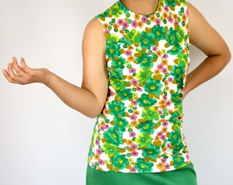 Sleeveless Top Mod Floral Neon Print H Bar C Vintage 1970s Size Medium