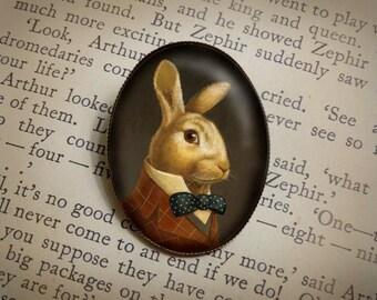 White Rabbit Portrait Brooch - Oval Brooch