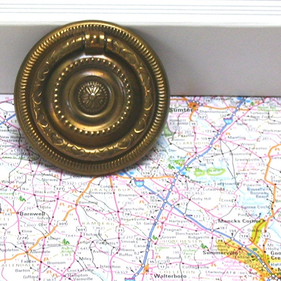 Colonial Revival Drawer Pull Ring Pull Stamped Metal