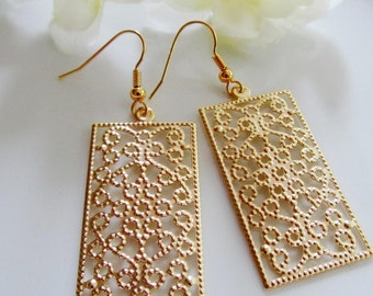 Gold Rectangle Filigree Earrings, Flower Design, Weddings, Everyday Wear